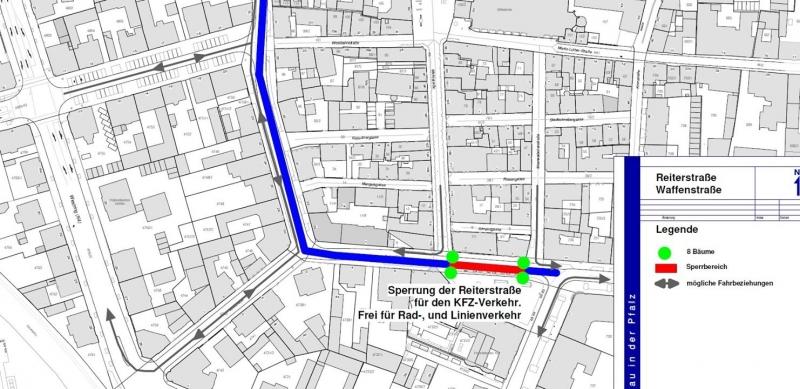 Kartenausschnitt mit Neuregelung Reiterstraße
